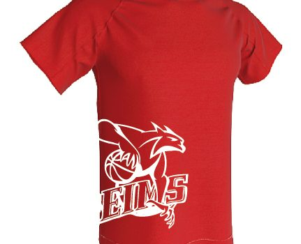 T-shirt respirant rouge logo blanc