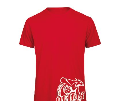 T-shirt coton rouge logo blanc